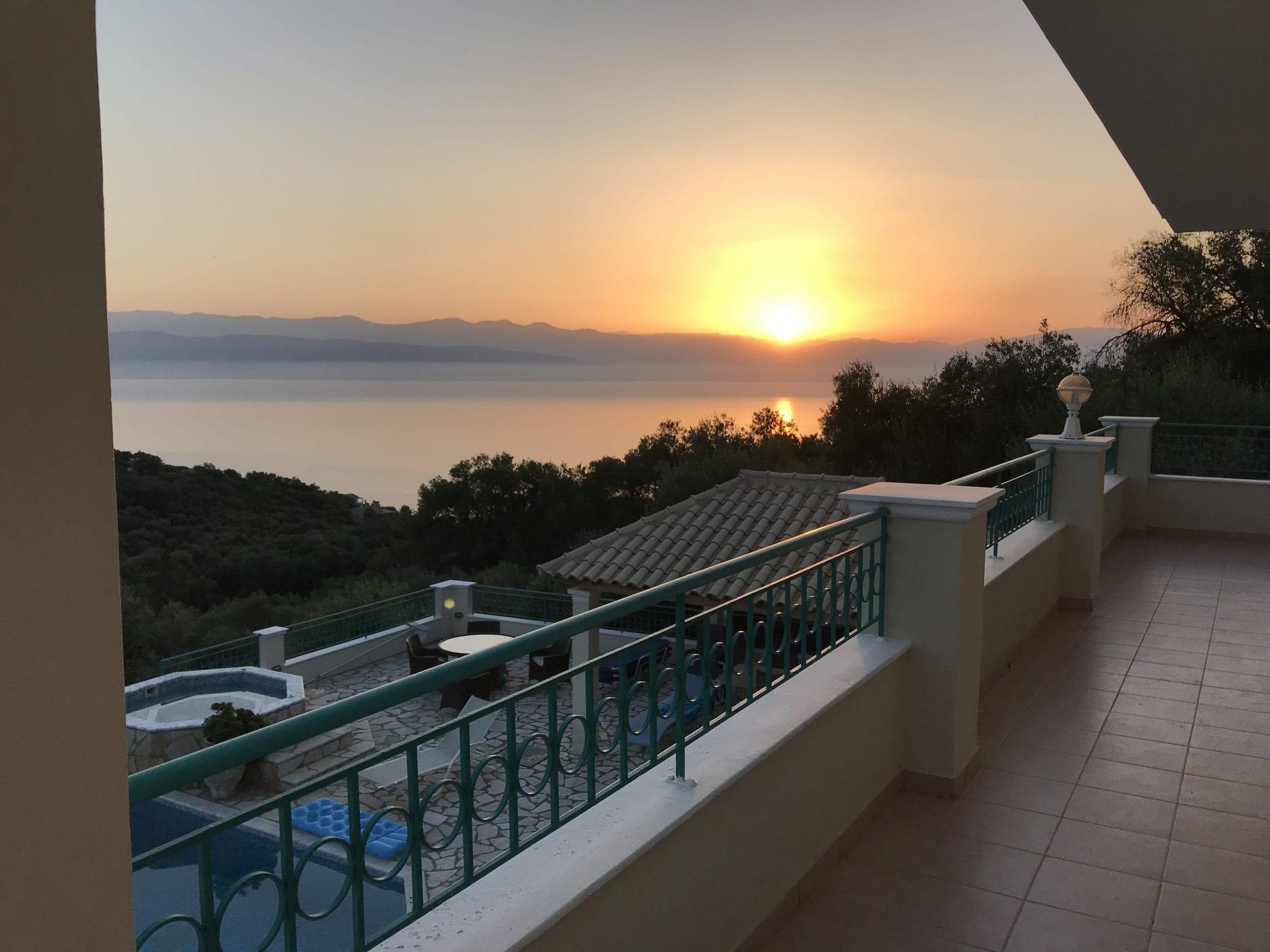 corfu villa sunset