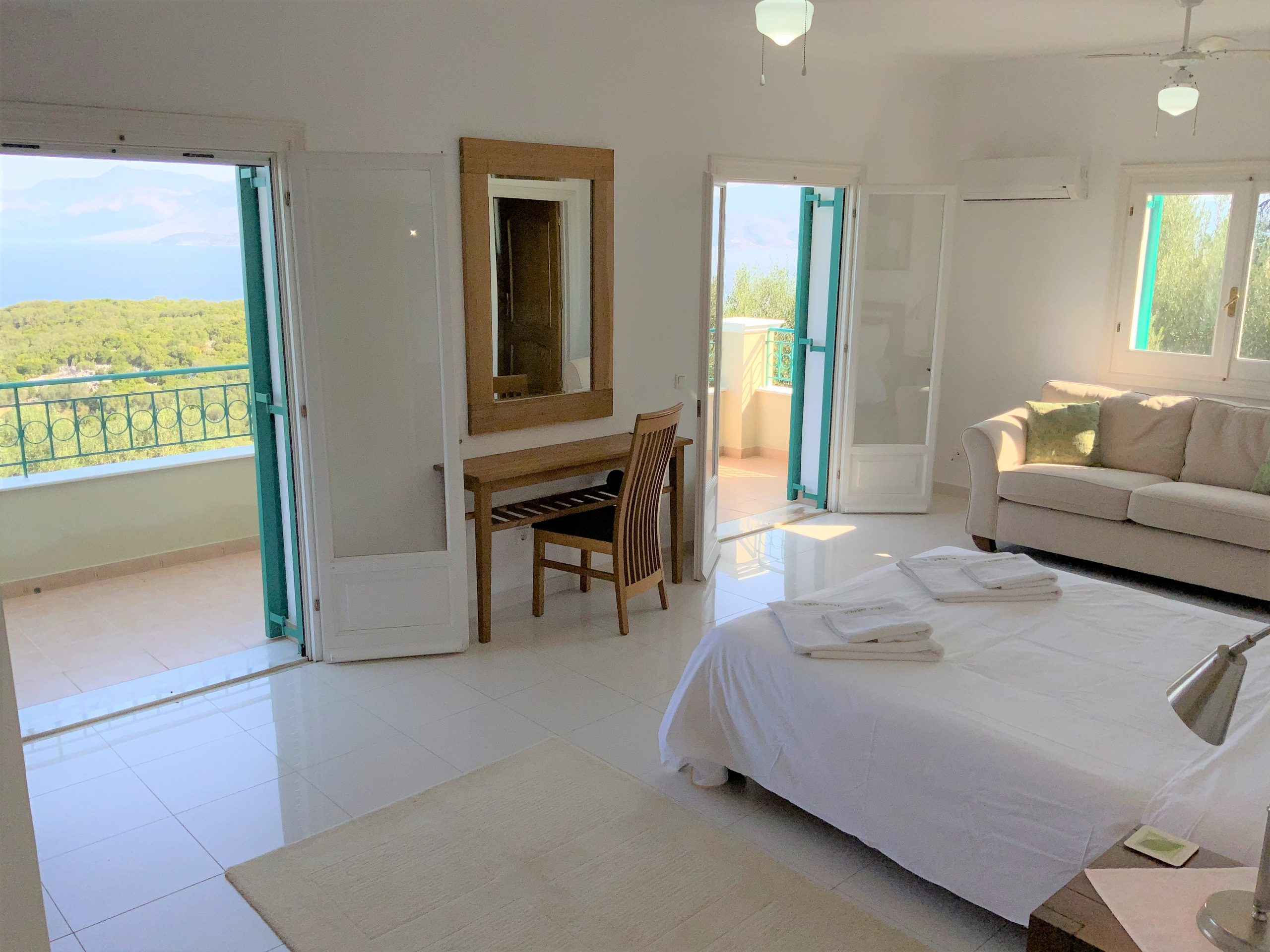 Bedroom with views across Corfu