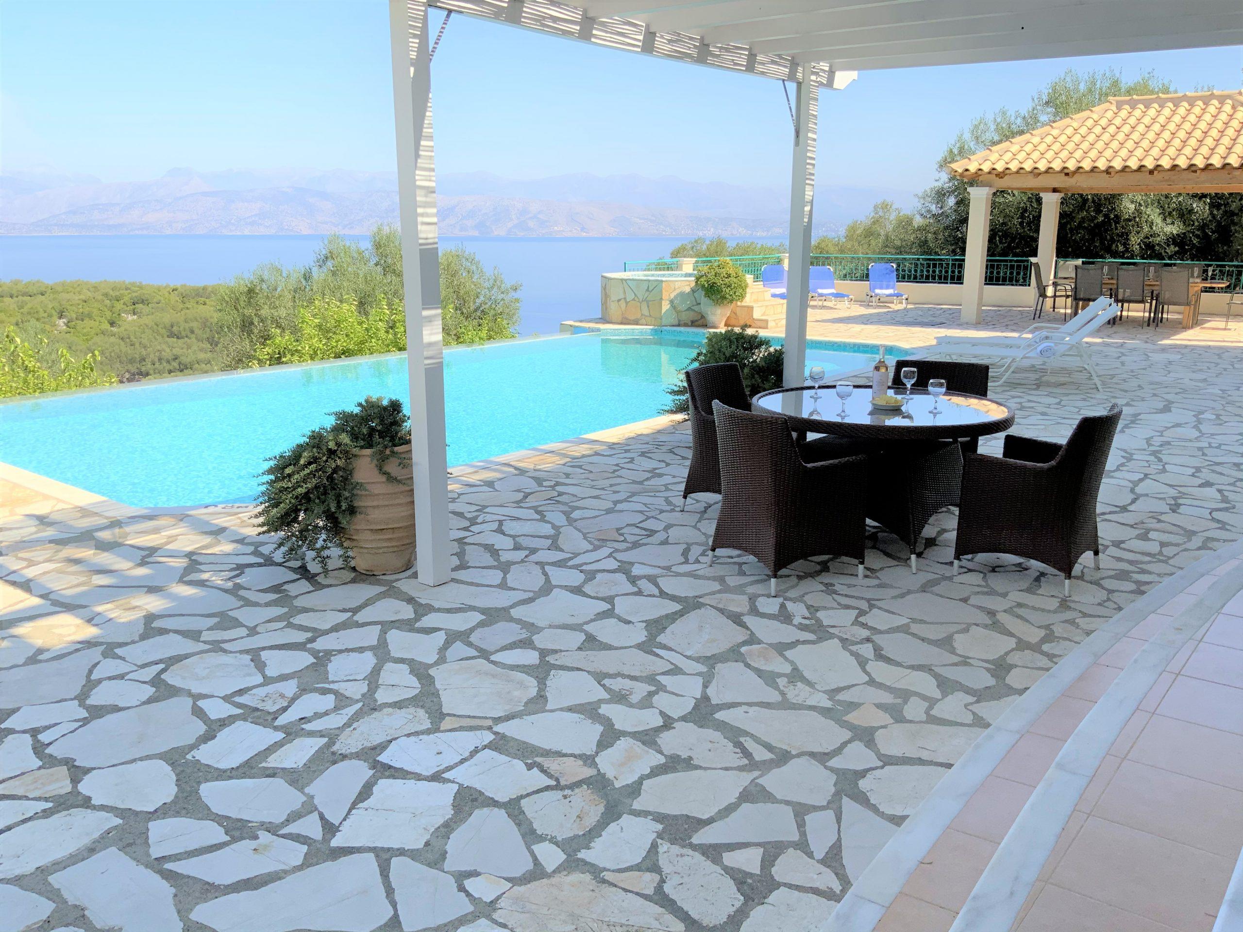 sea view, terrace, villa andrea, corfu